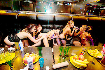 Wild girls fuck a stripper in the club, part 2